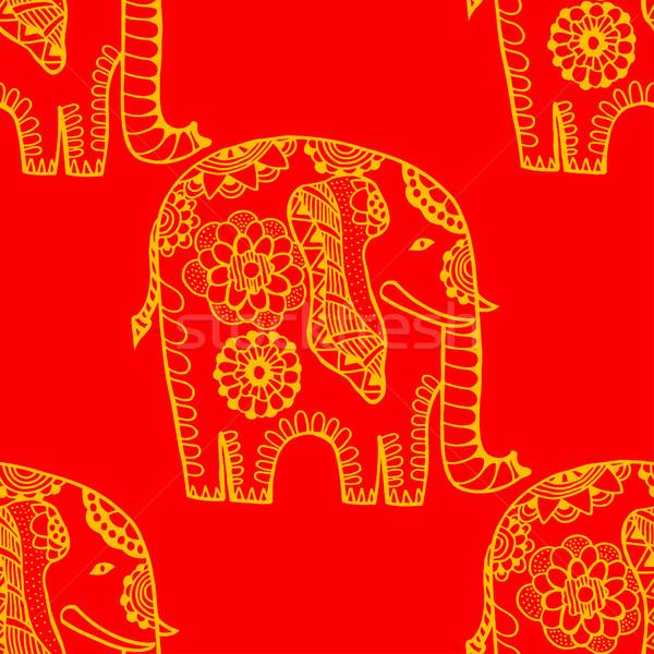 Stock fotó: Kézzel · rajzolt · kisebbségi · elefánt · végtelen · minta · kéz · háttér