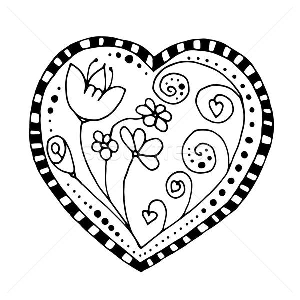 Vázlatos firka szív monokróm örvények természet Stock fotó © frescomovie