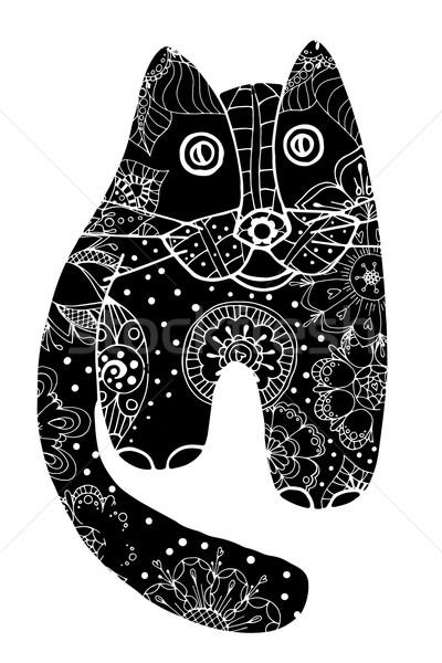 黒猫 花 いたずら書き 抽象的な デザイン 芸術 ストックフォト © frescomovie