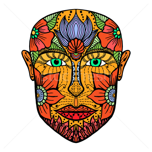 man face of flowers. Stock photo © frescomovie
