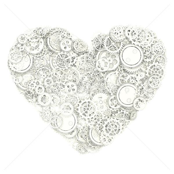 Heart made gears Stock photo © frescomovie
