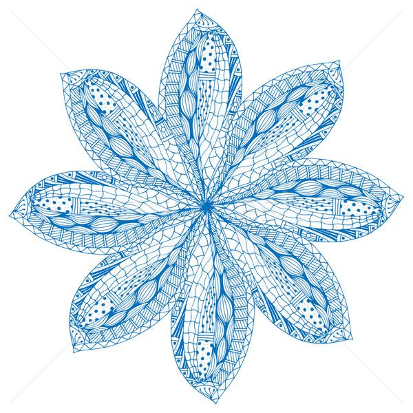 étnico azul mandala decorativo elementos Foto stock © frescomovie