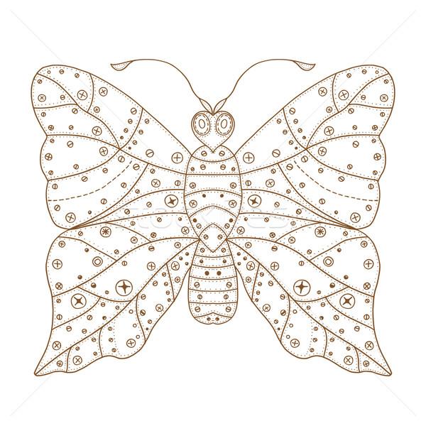 Zentangle stylized brown Butterfly Stock photo © frescomovie
