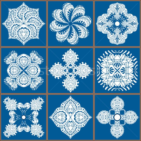 Káprázatos végtelenített tákolmány minta kék csempék Stock fotó © frescomovie