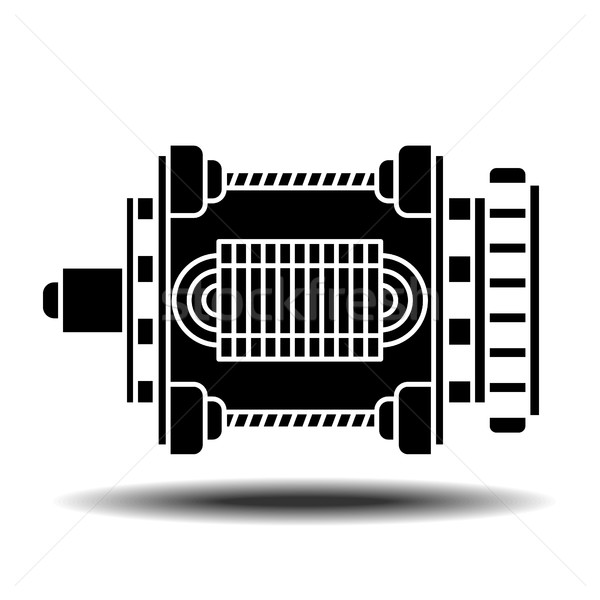 Elektrik motor ikon gölge vektör beyaz Stok fotoğraf © frescomovie