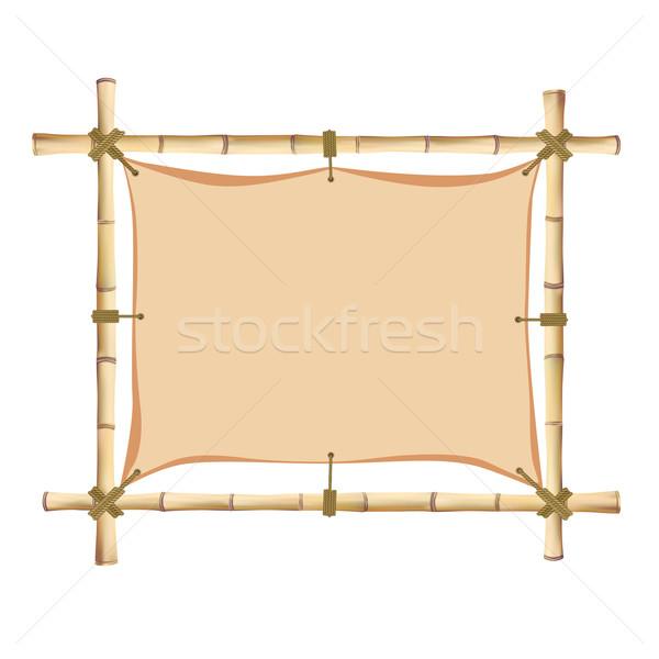 Bambu quadro isolado branco madeira fundo Foto stock © frescomovie