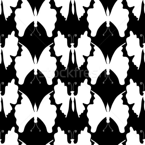 Pillangók végtelen minta tavasz pillangó terv keret Stock fotó © frescomovie