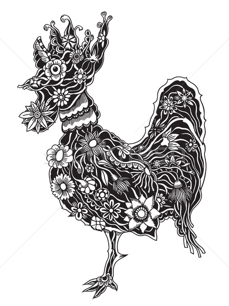 floral ornate rooster Stock photo © frescomovie