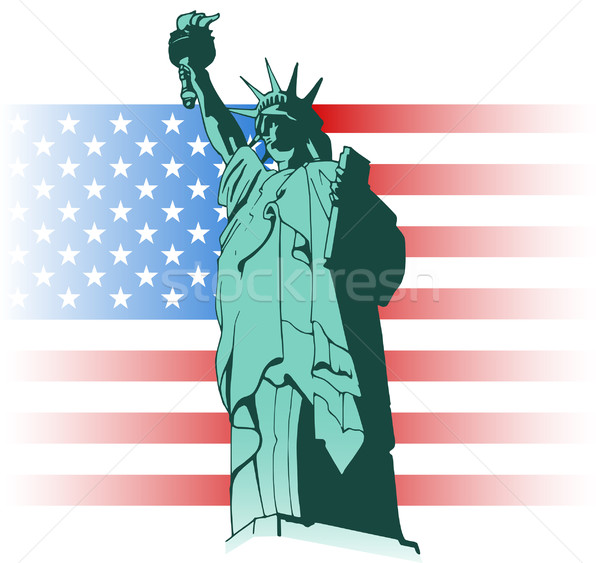 Statue of Liberty and US flag Stock photo © fresh_7266481