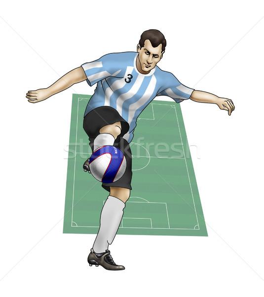 Csapat Argentína valósághű illusztráció labdarúgó visel Stock fotó © fresh_7266481