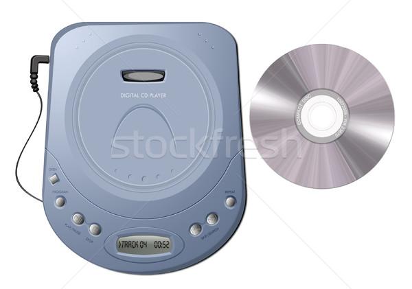 Portátil cd jogador azul ilustração isolado Foto stock © fresh_7266481