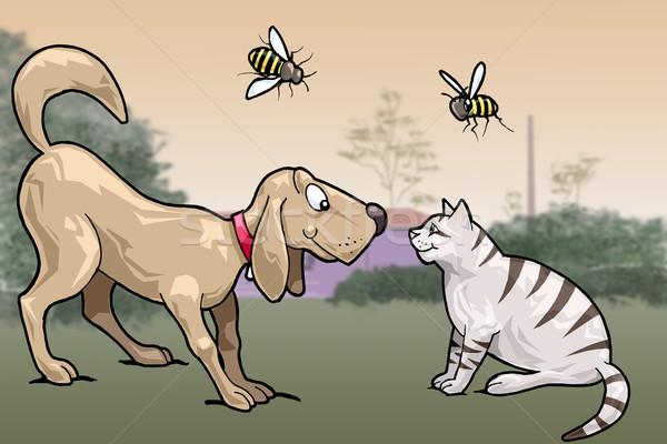 Mosolyog macska kutya szemtől szembe illusztráció néz Stock fotó © fresh_7266481