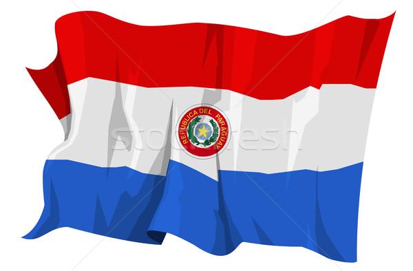 Banderą Paragwaj komputera wygenerowany ilustracja niebieski Zdjęcia stock © fresh_7266481