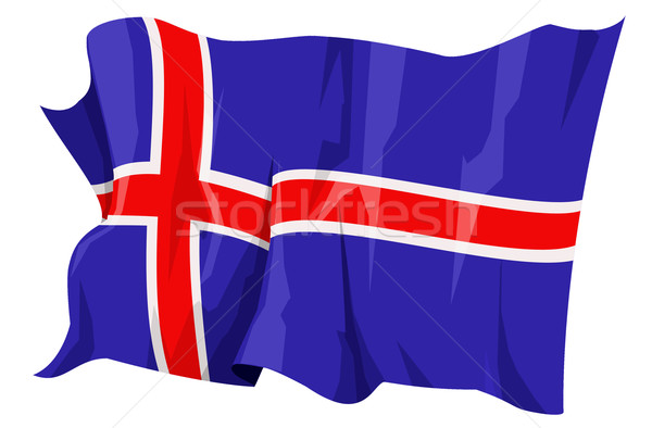 Foto stock: Bandeira · Islândia · computador · gerado · ilustração · viajar