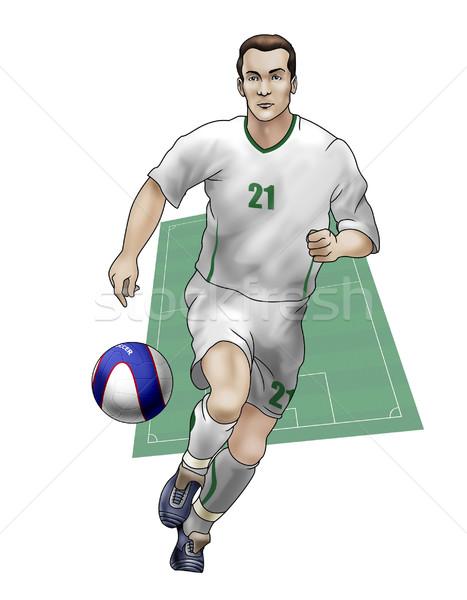 Csapat Szlovénia valósághű illusztráció labdarúgó visel Stock fotó © fresh_7266481