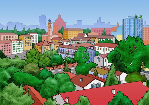 小さな町 風景 実例 ツリー 建物 ストックフォト © fresh_7266481