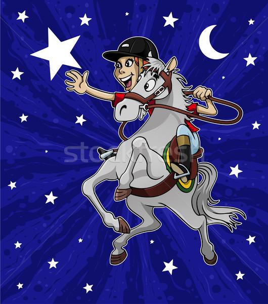 Bereiken star illustratie jonge gelukkig meisje paardrijden Stockfoto © fresh_7266481