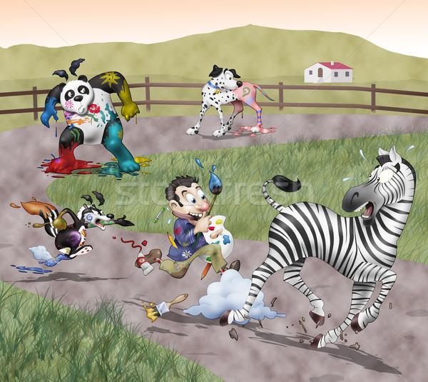 Geschilderd dieren grappig illustratie mad schilder Stockfoto © fresh_7266481