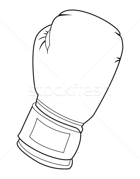черно белые боксерская перчатка иллюстрация стороны власти бокса Сток-фото © fresh_7266481