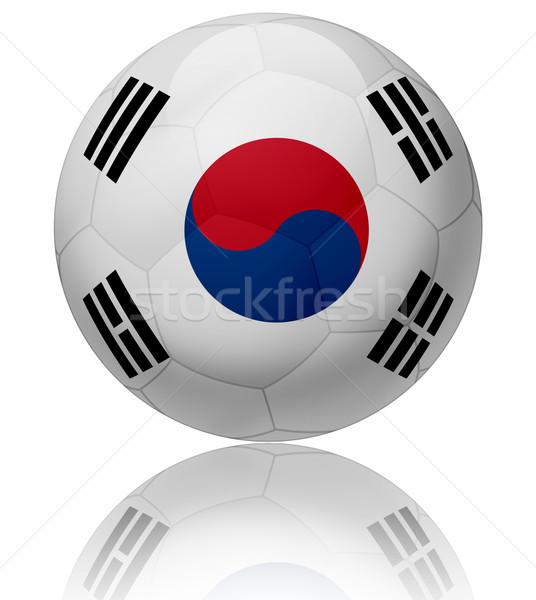 Южная Корея флаг мяча текстуры футбольным мячом Сток-фото © fresh_7266481