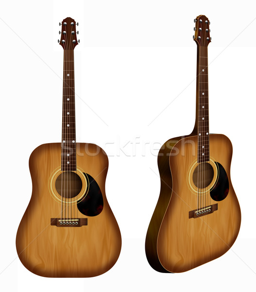 Acoustic guitar - Double point of view - Realistic illustration Stock photo © fresh_7266481