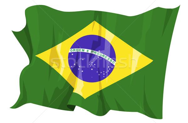 флаг Бразилия компьютер генерируется иллюстрация синий Сток-фото © fresh_7266481