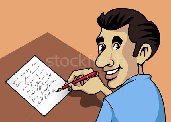 Yazı adam örnek gülen mektup kalem Stok fotoğraf © fresh_7266481