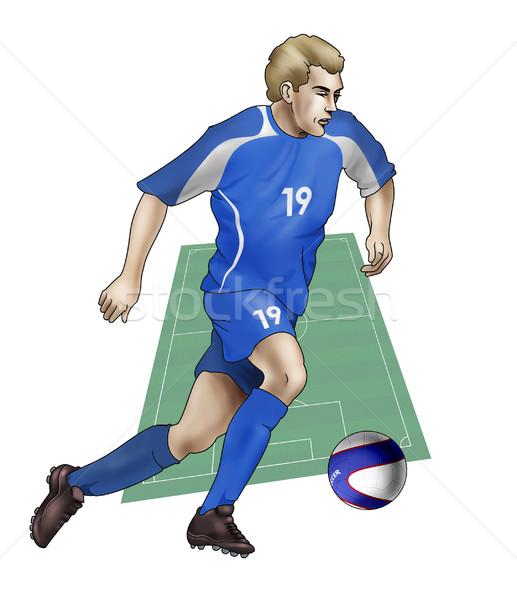 Takım Slovakya gerçekçi örnek futbolcu Stok fotoğraf © fresh_7266481