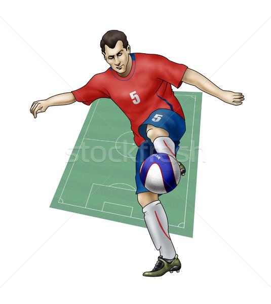 Equipe Sérvia realista ilustração jogador de futebol Foto stock © fresh_7266481