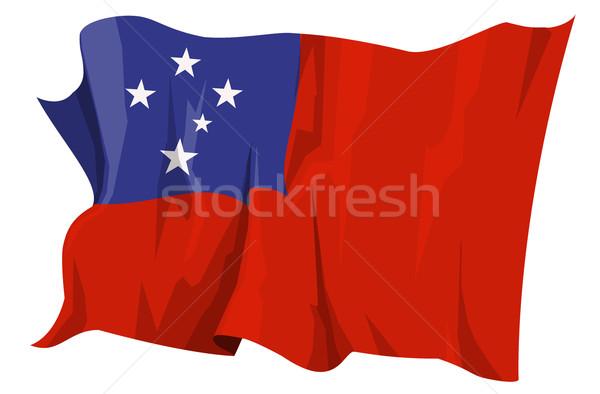 Bayrak Samoa bilgisayar oluşturulan örnek seyahat Stok fotoğraf © fresh_7266481