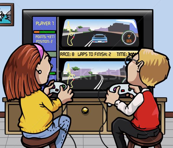 Autó versenyzés illusztráció kettő gyerekek egy lány Stock fotó © fresh_7266481