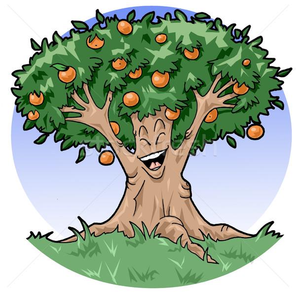 Boldog narancsfa művészi illusztráció mosolyog természet Stock fotó © fresh_7266481