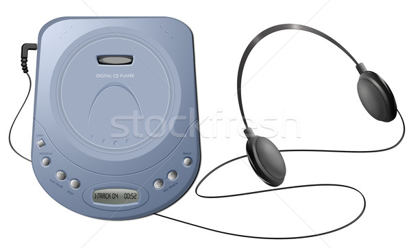 Portable CD player with headphones - Blue Stock photo © fresh_7266481