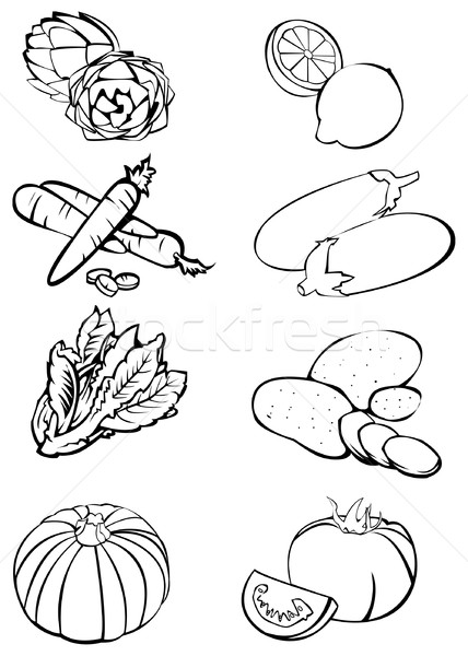 Eight vegetables - Black and white Stock photo © fresh_7266481
