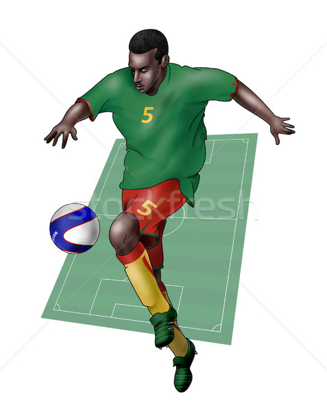 Team Kameroen realistisch illustratie voetballer Stockfoto © fresh_7266481