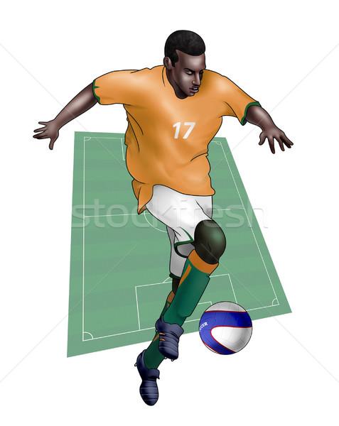 Csapat Elefántcsontpart valósághű illusztráció labdarúgó visel Stock fotó © fresh_7266481