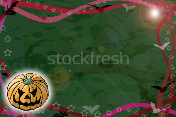 Halloween éjszaka zöld számítógép illusztráció sötét Stock fotó © fresh_7266481