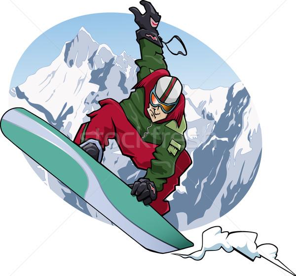 Snowboard 2011 illustration sautant rouge Photo stock © fresh_7266481