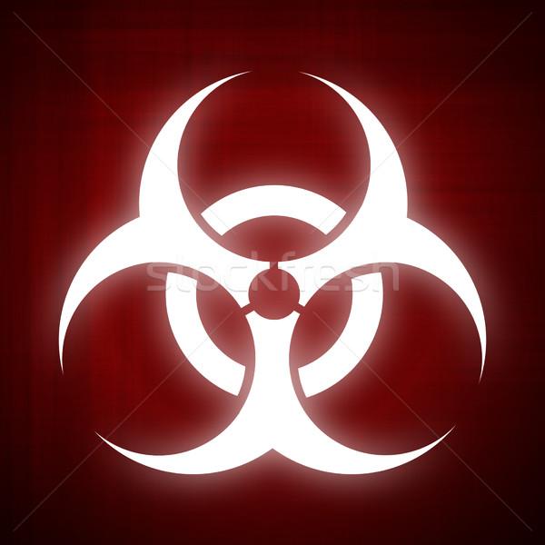 Biohazard symbol on red background Stock photo © fresh_7266481