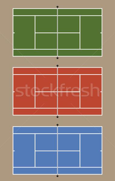 Three tennis courts Stock photo © fresh_7266481