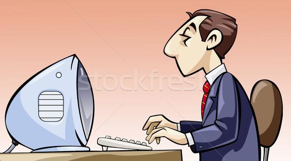 従業員 作業 コンピュータ 実例 オフィス 作業 ストックフォト © fresh_7266481