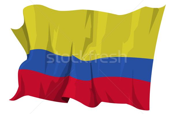 Vlag Colombia computer gegenereerde illustratie Blauw Stockfoto © fresh_7266481