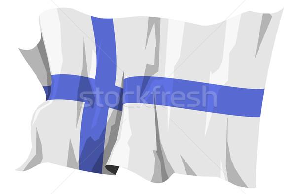 Bayrak Finlandiya bilgisayar oluşturulan örnek çapraz Stok fotoğraf © fresh_7266481