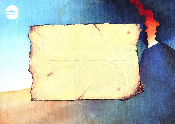 火山 グランジ 水彩画 実例 風景 ストックフォト © fresh_7266481
