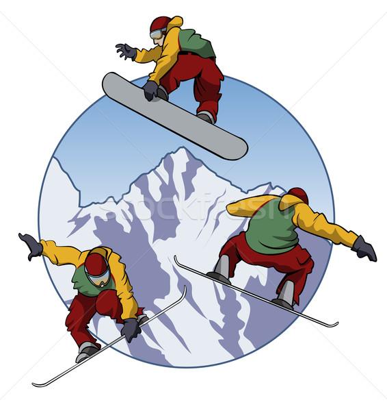愛 スノーボード 実例 スノーボーダー 3  異なる ストックフォト © fresh_7266481