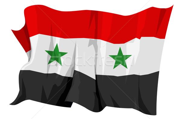 Vlag Syrië computer gegenereerde illustratie sterren Stockfoto © fresh_7266481