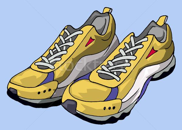 Futócipők illusztráció pár citromsárga fitnessz tornaterem Stock fotó © fresh_7266481