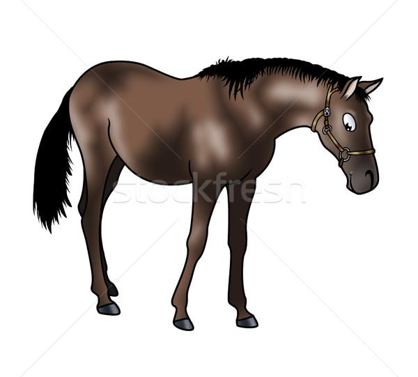 ブラウン 馬 かわいい 孤立した 白 漫画 ストックフォト © fresh_7266481