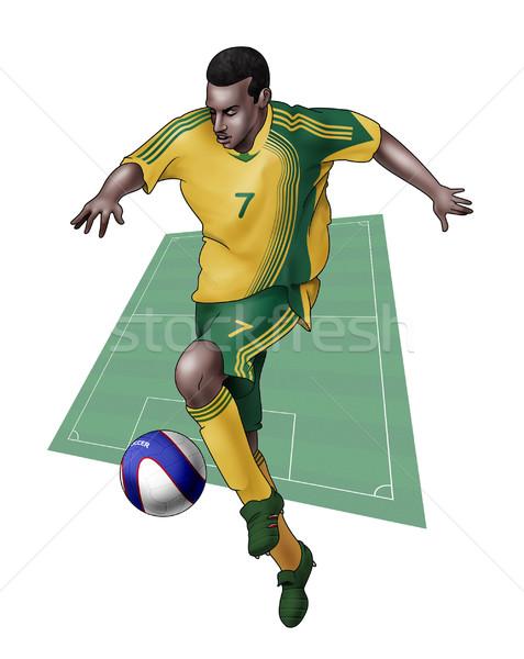 Team South Africa realistisch illustratie voetballer Stockfoto © fresh_7266481