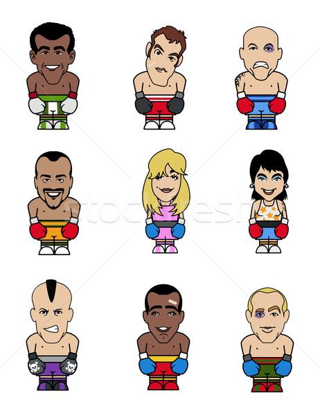 девять смешные семь мужчин две женщины Сток-фото © fresh_7266481